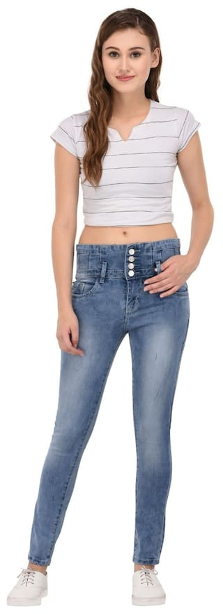 for Mid Women Fasnoya Skinny Waist Fit Jeans xXUUq7waR