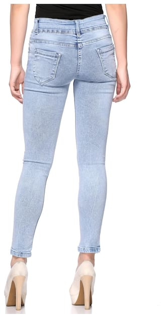 for Jeans Waist Mid Women Fasnoya Double Button vz68O