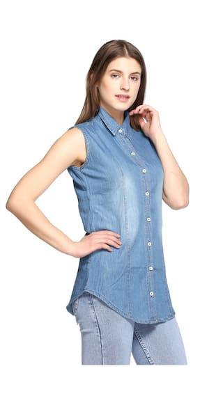 Sleeveless Women Denim Fasnoya for Shirts 0xRcHS