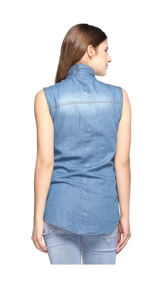 Sleeveless Women Denim Fasnoya for Shirts 0xRcHS