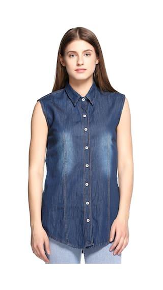 Fasnoya Sleeveless Denim Shirts for Women