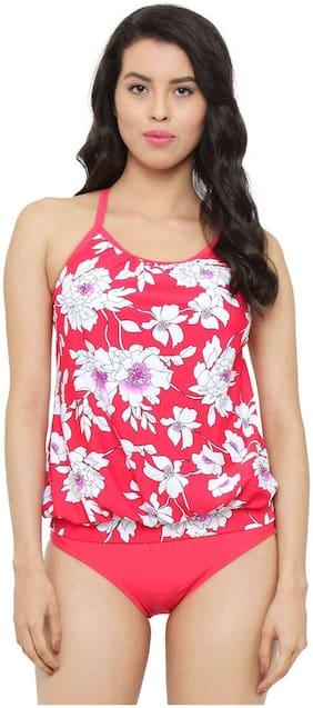 Fasnoya Women's Red and White Floral Tankini Two Piece Swimwear