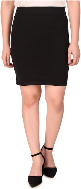 Fasnoya Solid Pencil skirt Mini Skirt - Black