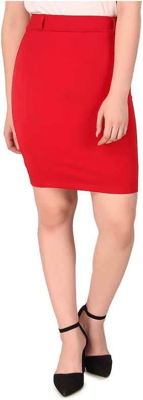 Fasnoya Solid Pencil skirt Mini Skirt - Red