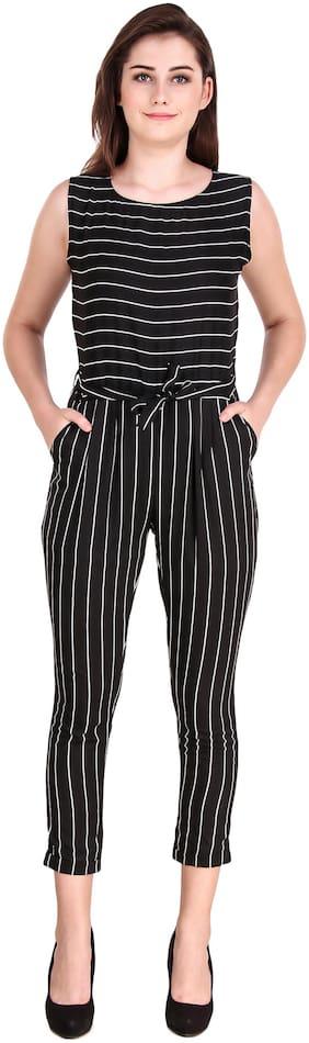 Fasnoya Striped Jumpsuit - Black