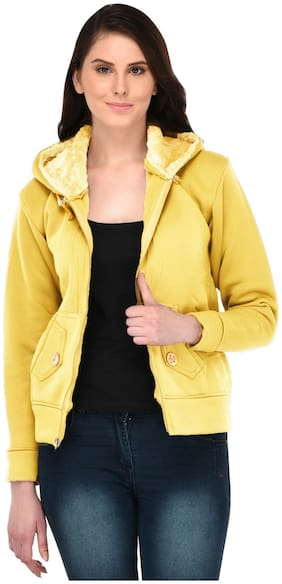Fasnoya Women Solid Puffer jacket - Yellow