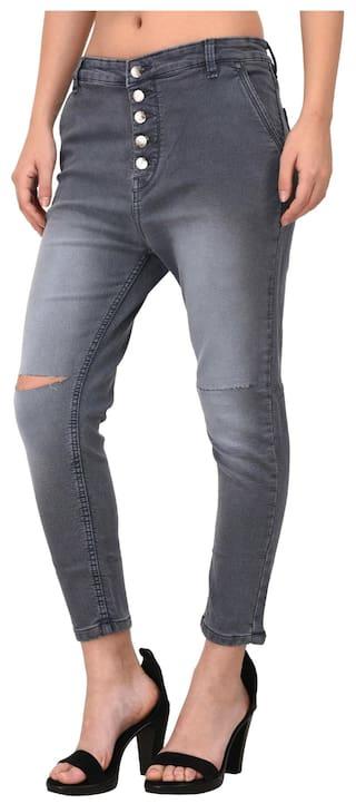 Fasnoya Women's Grey Knee Cut Jeans