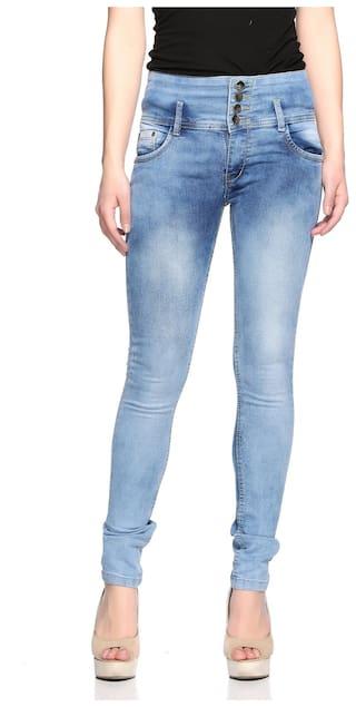 Fasnoya Women's 4-Buttons Mid Waist Skinny Fit Jeans
