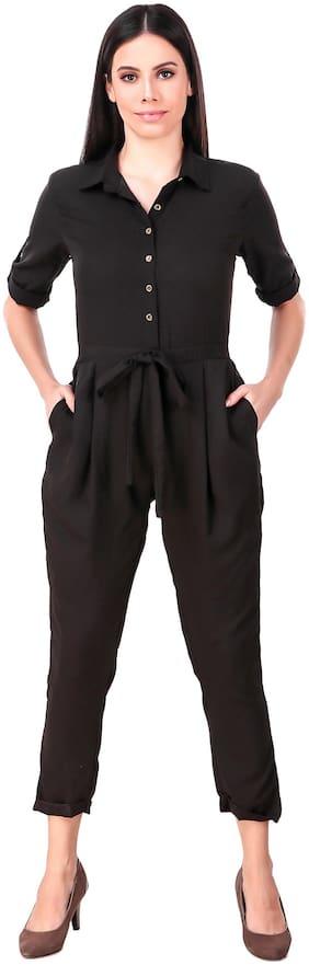 Fasnoya Solid Jumpsuit - Black
