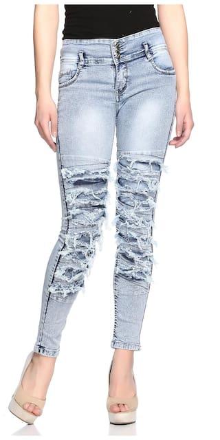Fasnoya Women's Distressed 3-Buttons Skinny Fit Jeans