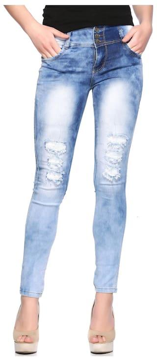 Fasnoya Women's High Waist Distressed Torn Jeans