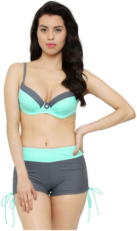Fasnoya Women's Mint and Grey Underwired Bikini Swimsuit