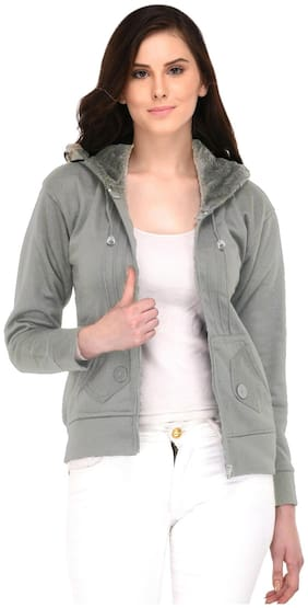 Fasnoya Women Solid Puffer Jacket - Grey