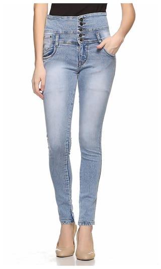 Fasnoya Women's High Waist 5-Buttons Skinny Fit Jeans