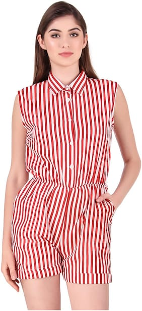 Fasnoya Striped Jumpsuit - White & Red