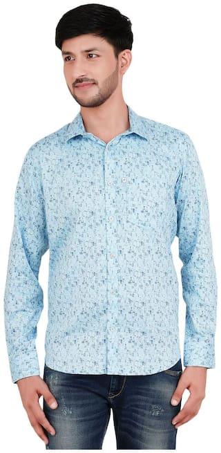 FAVIO Men Blue Printed Super Slim Fit Casual Shirt