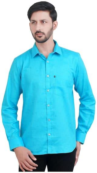 FAVIO Men Blue Solid Regular Fit Casual Shirt