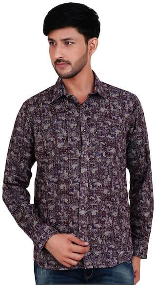 FAVIO Men Purple Floral Super Slim Fit Casual Shirt