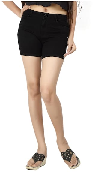 12fbfed5211 Buy Fck-3 Black Denim Shorts Online at Low Prices in India ...
