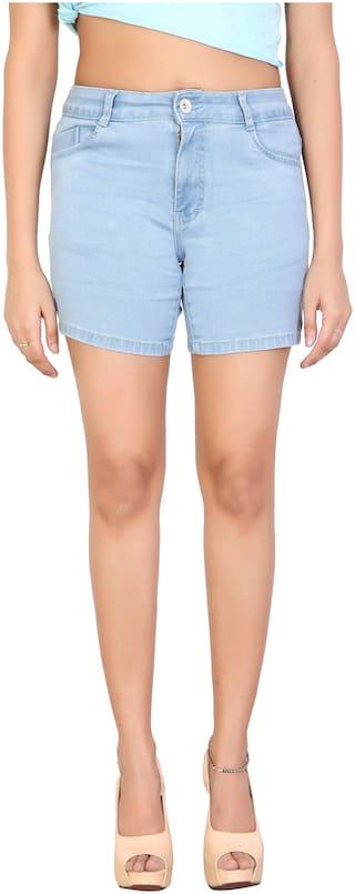 FCK-3 Women Solid Hot pants - Blue