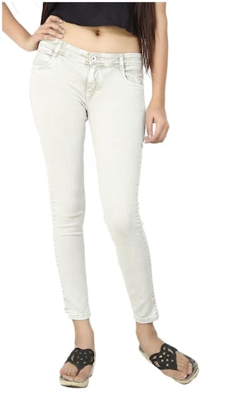 47f8fbe29a3 Buy FCK-3 White Slim Fit Denim Jeans Online at Low Prices in India ...
