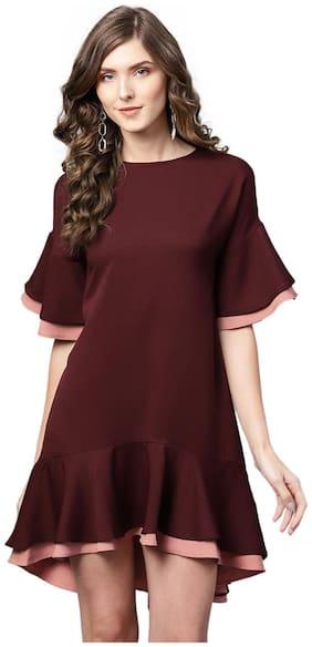 Femella Polyester Solid Fit & flare dress Burgundy