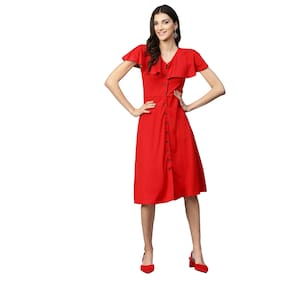 Femella Polyester Solid A-line Dress Red