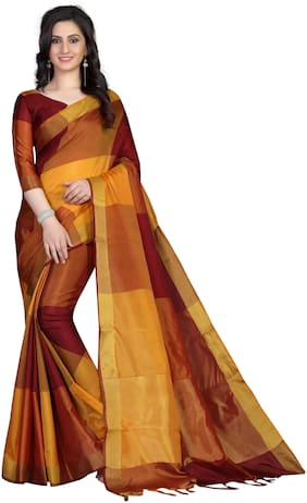 52dc33dead Femiro Fab Cotton Universal Embroidered work Saree - Maroon , With blouse