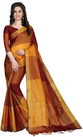 a5cd93b4b42fed Femiro Fab Cotton Universal Embroidered work Saree - Maroon , With blouse