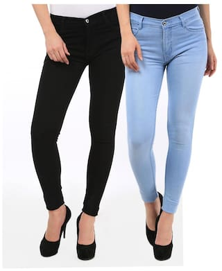 Fuego Fashion Wear Combo of Blue & Black Women's Denim Jeans-Pack of 2