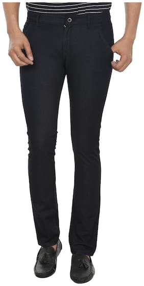 Fever Navy Blue Dobby Lycra Casual Trousers
