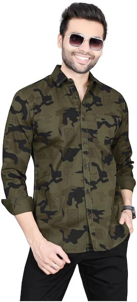 Men Slim Fit Camouflage Casual Shirt