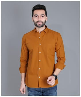 FIFTH ANFOLD Men Brown Solid Slim Fit Casual Shirt