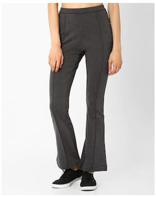 Fig By Reliance Trends Grey Women Flared Trouser