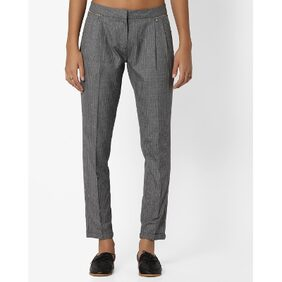 Fig By Reliance Trends Grey Women Relaxed Trouser