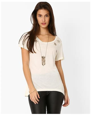 a0a9c06eb71 Buy Fig By Reliance Trends White Women's T Shirt Online at 50% off ...