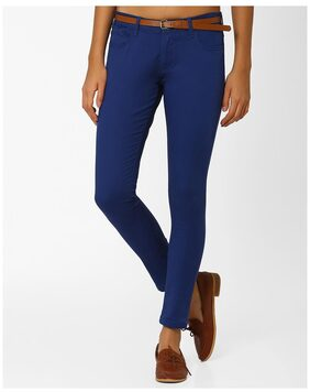 Fig By Reliance Trends Navy Blue Women Relaxed Trouser