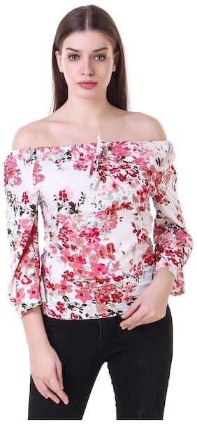 Fine Women Cotton Printed - Regular top Pink