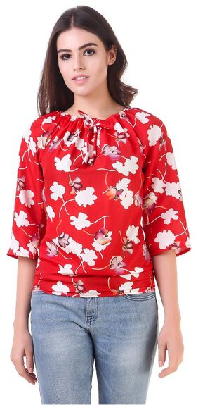 FIN-164-Red-Flower print -Top-S