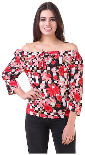Fine Women Embroidered A-line top - Pink