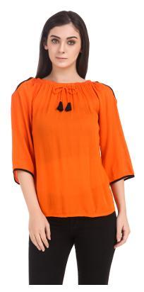 Fine Women Viscose Printed - A-line Top Orange
