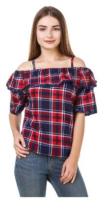 Fine Women Cotton Striped - A-line Top Red