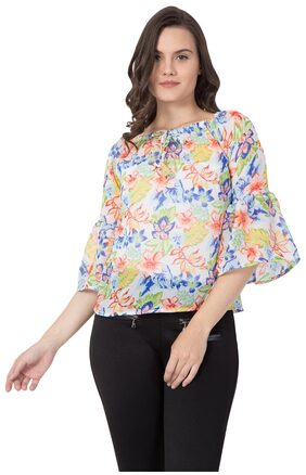 Fine Women Cotton Floral - A-line Top White