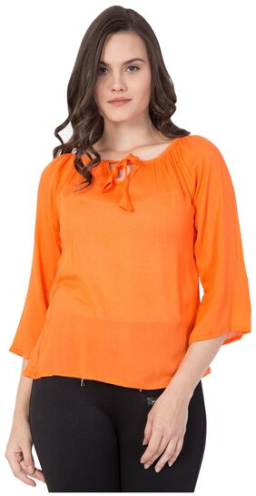 Fine Women Cotton Embroidered - A-line Top Orange
