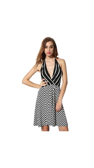 Sleeveless Neck Halter Waist Backless Dress High Ladies Women V Sexy Mini Club Striped Finejo Hx6qwXCnTF