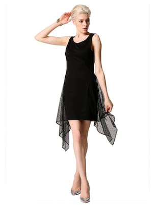 Irregular Sleeveless O Finejo Neck Women Mesh Solid Dress Party Sexy Mini Patchwork qxww1CzAI