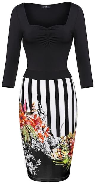 Floral Sleeve Finejo Dress Stylish Stitching Women Dress Slim 4 3 Bodycon Casual nSxYgq8ZAx