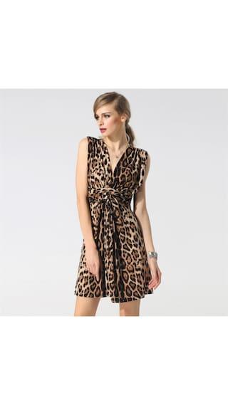 FINEJO Stylish Women V Neck Sleeveless Drape Ruched Leopard Slim Casual Sundress Tank Dress