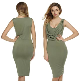 Finejo Women Lady Sleeveless High Waist Knee Length Sexy Bodycon Casual Party Solid Dress