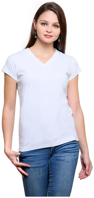 FINESSE MIRACLE CAMI Women Solid V neck T shirt - White